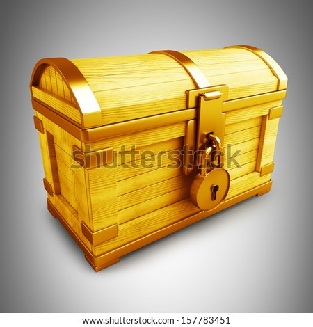 Gold collection. vintage chest with lock high resolution 3d render  - stock photo