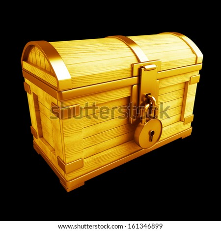 Gold collection. vintage chest with lock high resolution 3d render