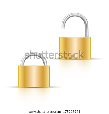 Gold color locked and unlocked padlock isolated on white
