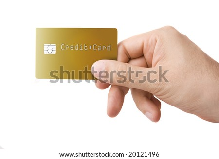 Gold colored credit card in a male hand on white - stock photo