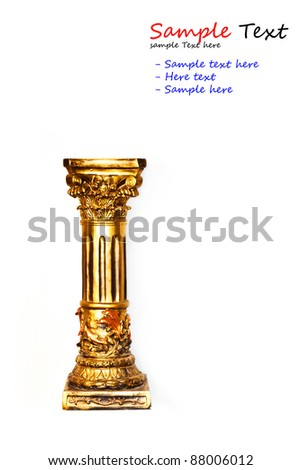 gold column isolated with white background