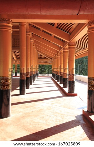gold columns of Royal Palace in Mandalay, Myanmar(Burma)