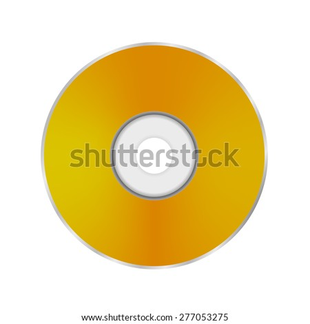 Gold Compact Disc Isolated on White Background.  - stock photo
