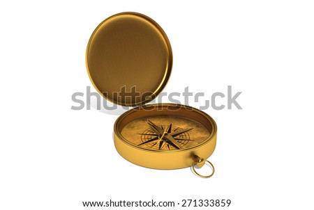 Gold compass on white isolated background. 3d - stock photo