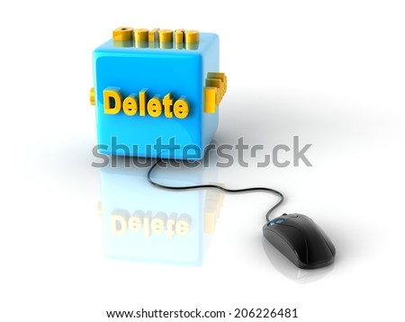 gold computer key Delete on reflective blue cube with computer mouse. - stock photo