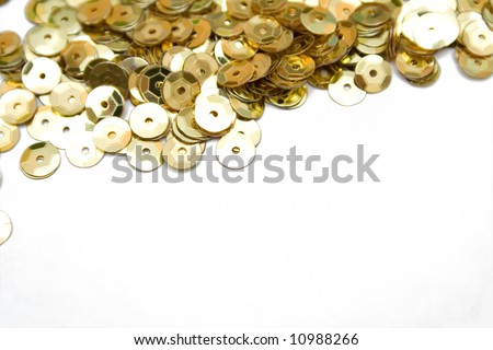 gold confetti on the isolated background