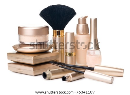 Gold cosmetics - stock photo