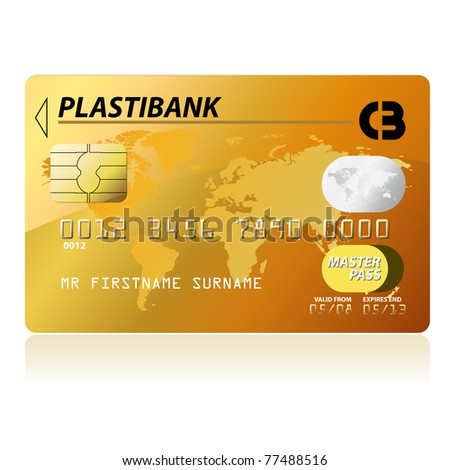 Gold credit card - stock photo