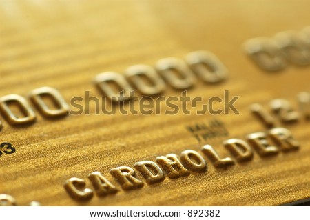 Gold Credit Card. Closeup. - stock photo