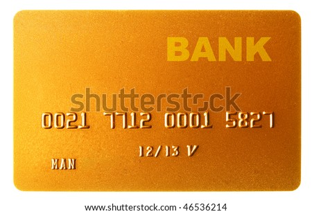 Gold credit card isolated over the white background - stock photo