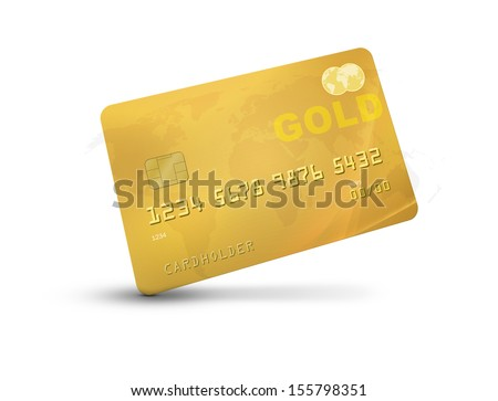 Gold credit card or debit card representing rich or luxury with world map on the background. isolated on a white background and shadow - stock photo