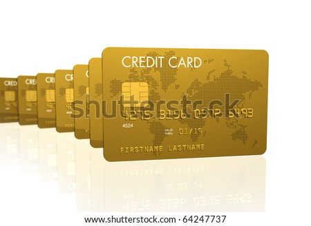 Gold credit cards series, 3D render isolated on white - stock photo