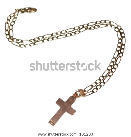 Gold cross on a chain