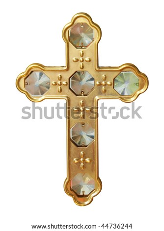 Gold Cross with Crystals isolated          with clipping path - stock photo