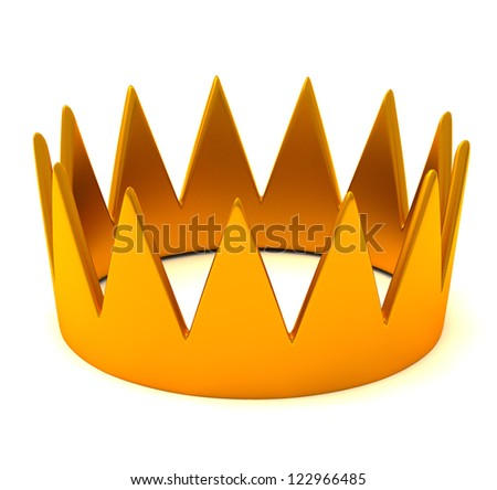 Gold crown, 3d - stock photo