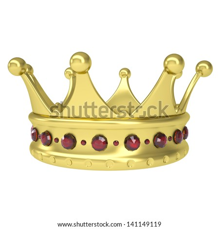 Gold crown decorated with rubies. Isolated render on a white background