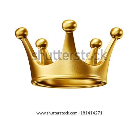 gold crown isolated on a white background - stock photo