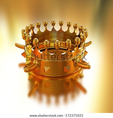 Gold crown isolated on gold background. Horn - a symbol of strength and power - stock photo
