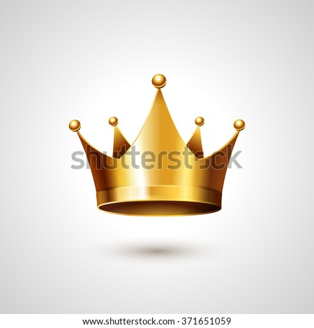 Gold Crown Isolated On White Background. - stock photo