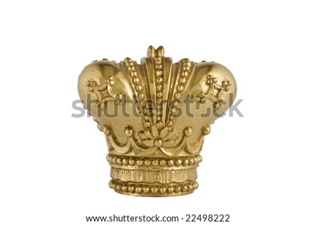 Gold Crown, isolated on white background / old Gold Crown - stock photo