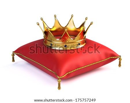 Gold crown on red pillow - stock photo