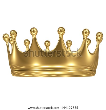 gold crown on white background - stock photo