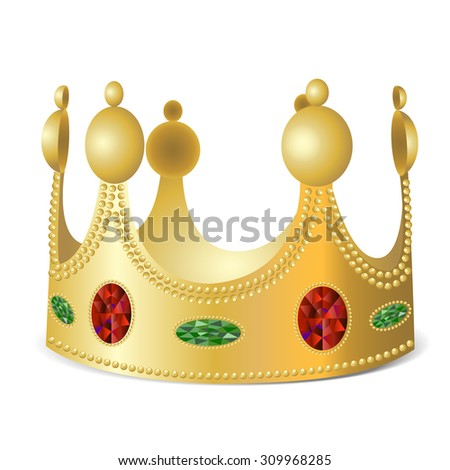 Gold crown with gems on white background in photo realistic style - illustration