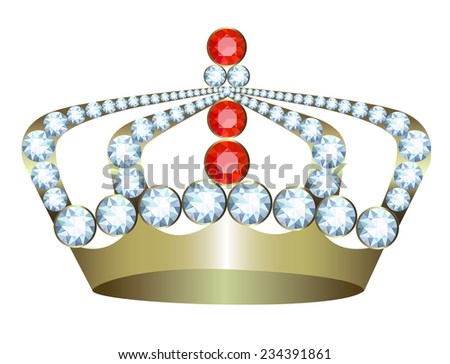 Gold crown with jewels on a white background - stock photo