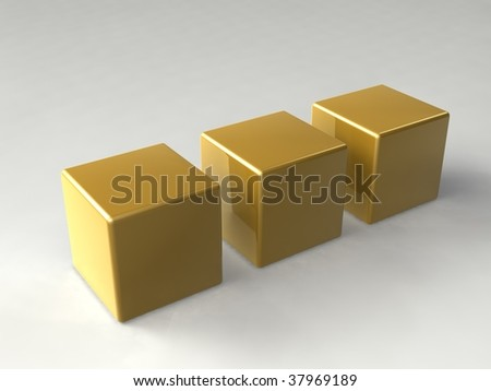 gold cubes - stock photo