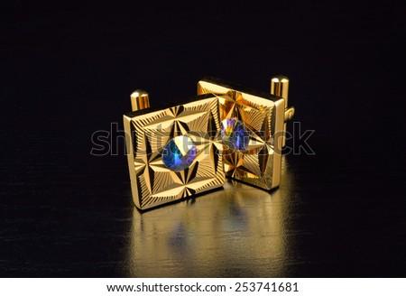 Gold Cufflinks - stock photo