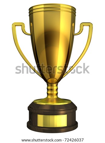 Gold Cup, Award - 3d rendered image of a trophy isolated on white background. - stock photo