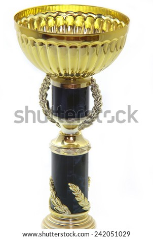 Gold cup isolated on a white background. - stock photo