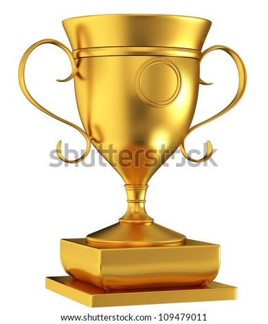 Gold Cup isolated on white background - stock photo