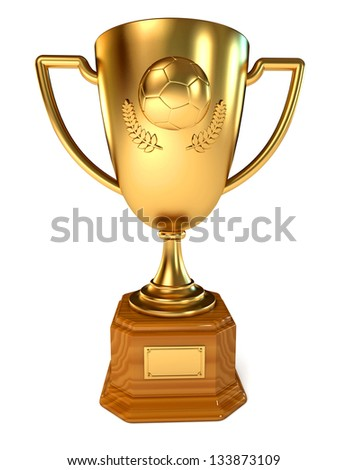 Gold Cup soccer winner. Conceptual illustration. Isolated on white background. 3d render - stock photo