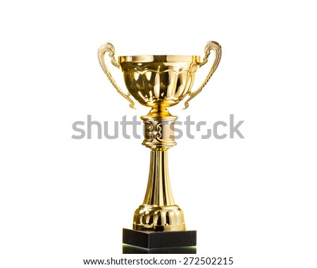 gold cup trophy isolated on white - stock photo