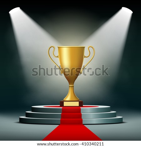Gold Cup winner standing on a podium. Stock illustration. - stock photo