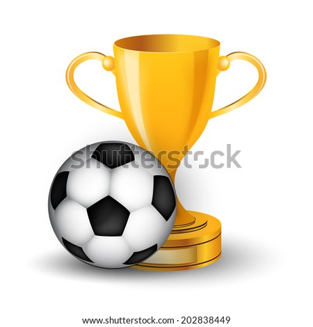 Gold cup with soccer ball - stock photo
