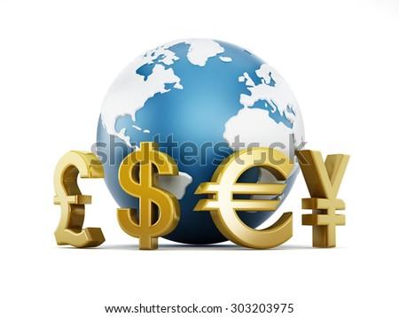 Gold currency symbols around the globe - stock photo