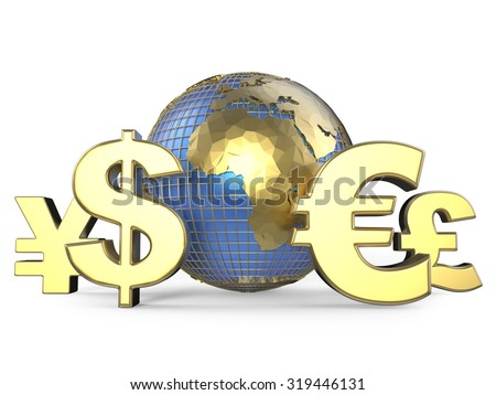 Gold currency symbols around the globe. 3D render illustration isolated on white background - stock photo