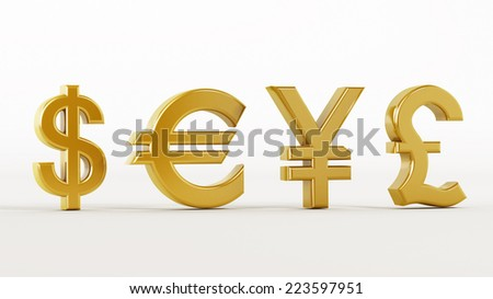 Gold currency symbols isolated on white.
