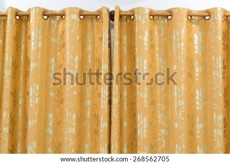 gold curtains - stock photo