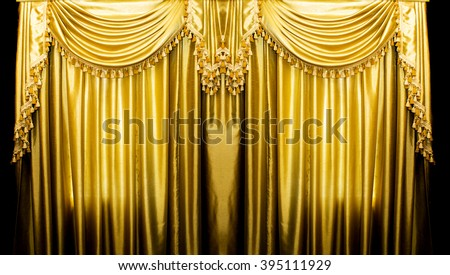 Gold curtains on stage for background  - stock photo