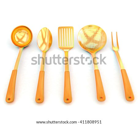 gold cutlery on white background . 3D illustration. Anaglyph. View with red/cyan glasses to see in 3D. - stock photo
