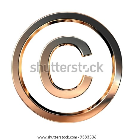 Gold 3D copyright sign