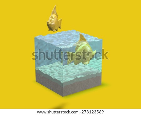 Gold 3d fish in aquarium, abstract render illustration. Cubic fish tank, yellow background. - stock photo