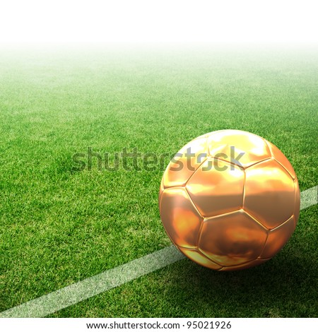 Gold 3d football on field - stock photo