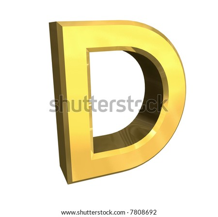 gold 3d letter D - stock photo