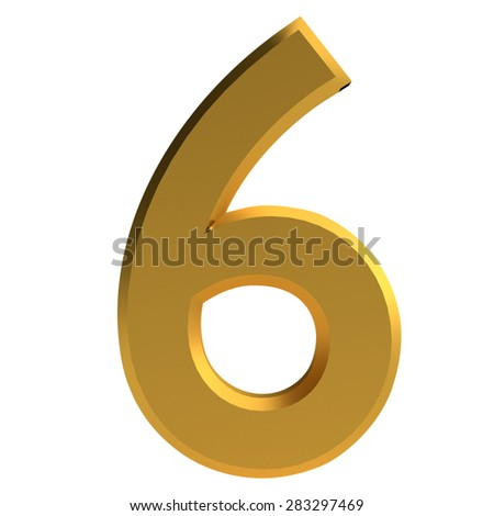 Gold 3d modern font. The number six - stock photo
