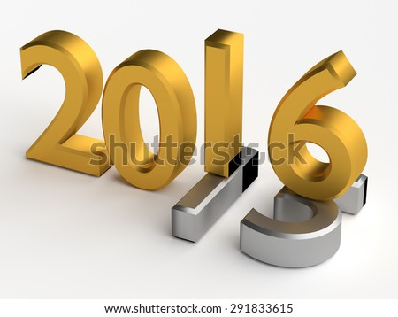 Gold 3d numbers of New Year 2016 over grey old 2015 - stock photo