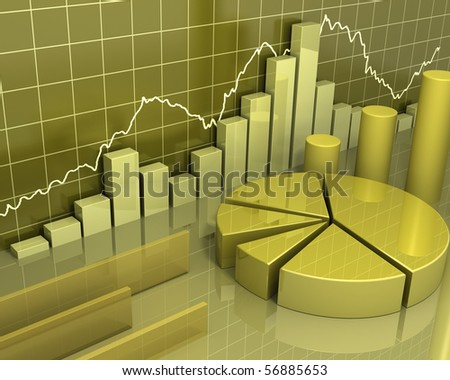 Gold Data Charts [Business Concept] - stock photo